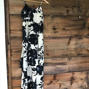 Long Dress Cream Black Ruffled XS